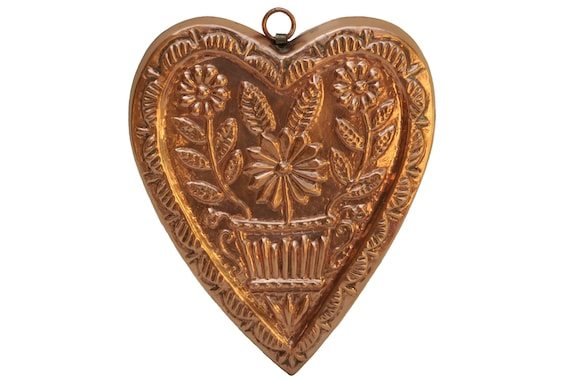 Vintage Heart Shaped Copper Mold, floral Folk Art Kitchen Decor, Bigra Swiss Made