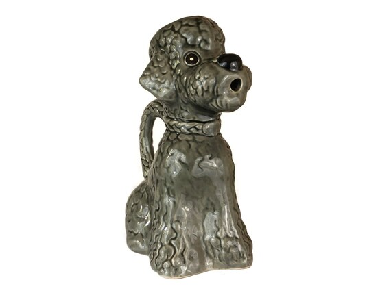 French Poodle Ceramic Water Pitcher, Mid Century Dog Figure Jug