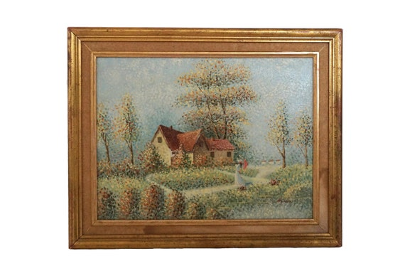 Impressionist Lady in Garden with House Painting Signed C Healey, Vintage Pointillism Art