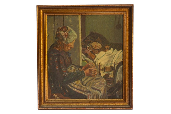 Grandmother Portrait Oil Painting, Original Signed Wall Art