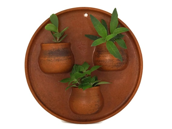 Vintage Pottery Air Plant Holder, French Terracotta  Wall Hanging Succulent Pockets, Rustic and Boho Home Decor