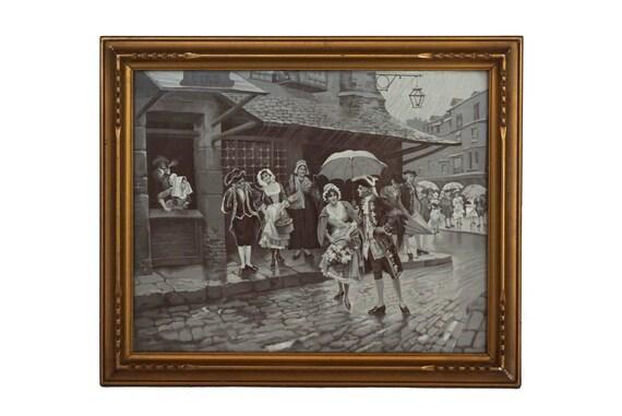 Antique Neyret Freres Stevengraph, Street Scene Under the Rain, Framed French Woven Silk Fabric Art Picture