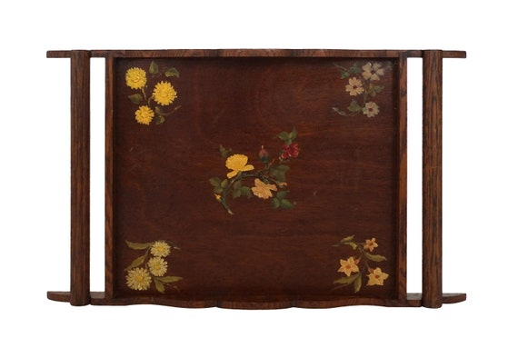 Antique Wooden Serving Tray with Hand Painted Flowers, French Kitchen Decor