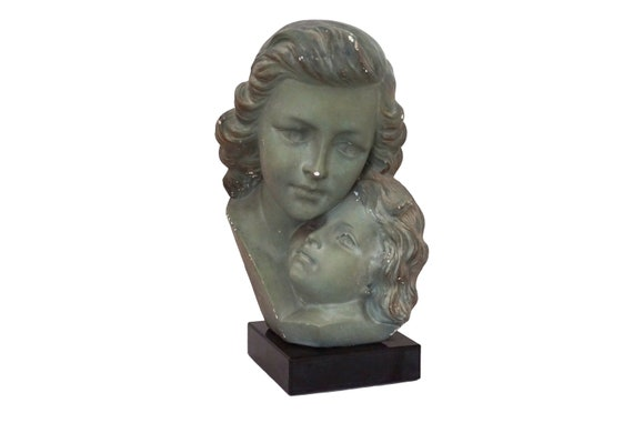Art Deco Mother and Child Family Portrait Bust Statue, Signed Antique French Woman Head Figure