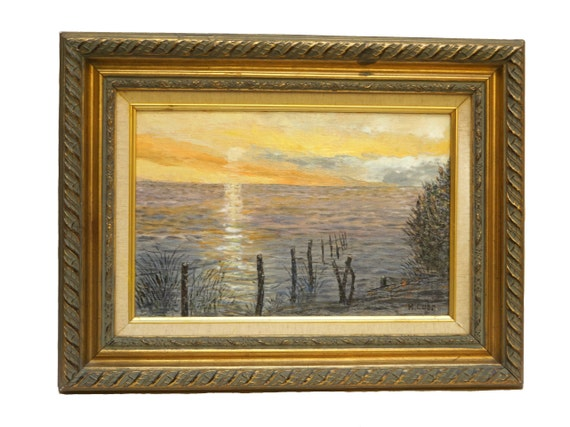 French Impressionist Sunset and Sea Painting, Framed Seascape Art