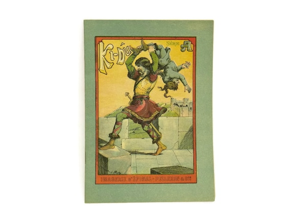 Illustrated Children's Story Book. French Antique book with Pellerin Epinal print Illustrations. Serie A Ki-Du.