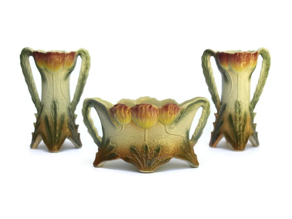Art Nouveau Majolica Jardiniere and Vases, French Antique Mantle Garniture, Ceramic Tulip Flower Planter