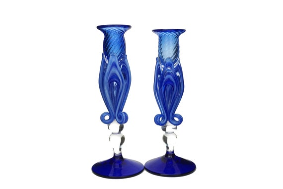 Murano Glass Candle Holders, Pair of Vintage Blue Fleur de Lys Venetian Candlesticks