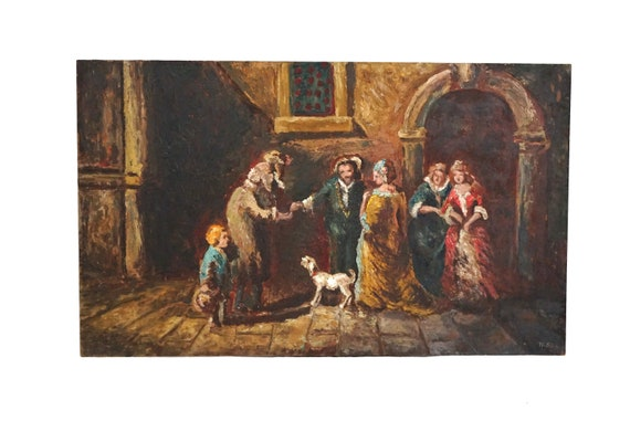 The Giving of Alms Painting, French Christian Charity Art with Beggars and Dog