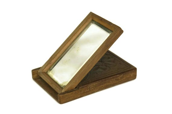 Antique Folding Mirror. Carved Wood and Beveled Glass Traveling Mirror. Makeup Compact Looking Glass. French Boudoir Decor.