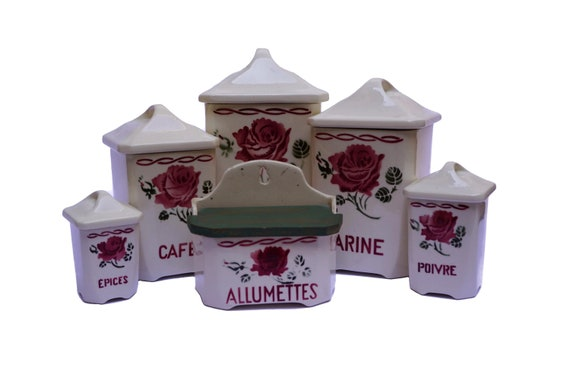 Shabby French Rose Canister Set, Art Deco Pottery Kitchen Storage Jars and Match Box
