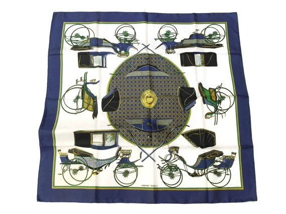 Vintage Hermes Luxury Silk Scarf, Authentic French Designer, Les Voitures à Transformation, Gift for Her