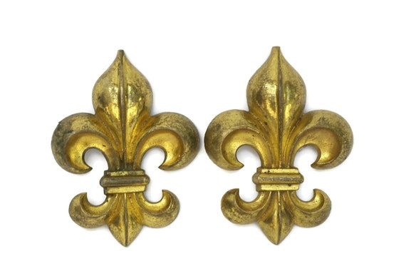 Antique Fleur de Lys Ornaments, Pair of French Gilt Bronze Picture Hook Covers, Chateau Decor