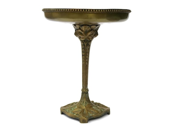 French Antique Bronze Compote Dish Decorated with Vine Leaves.