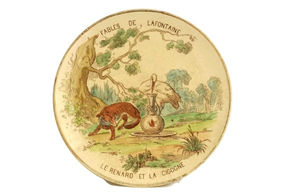 Fables of La Fontaine Antique Wall Plate, The Fox and the Stork