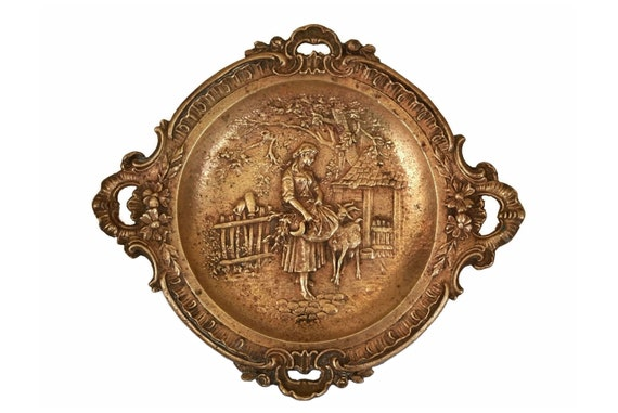 Antique French Bronze Coin Dish, Jewelry Tray with