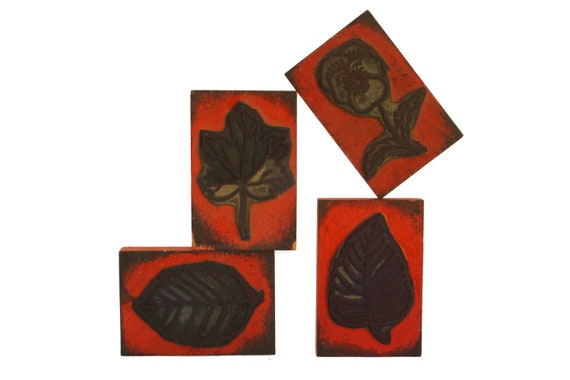Leaf Stamp Wood Print Block Set, French Flower and Plant Kids Craft Printing Gifts