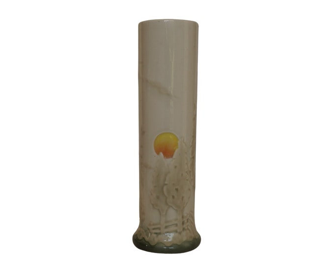 Art Deco Cylindric Ceramic Vase with Pine Trees and Sunset