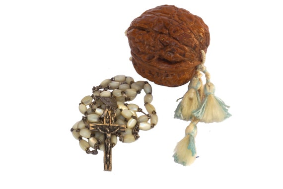 Antique walnut etui case with mother of pearl rosary beads, Collectible French Christian gift