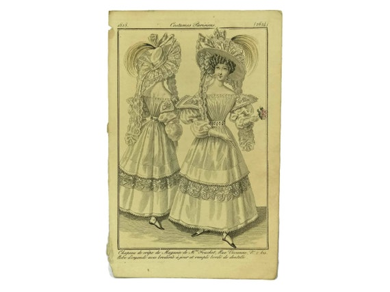 1828 Fashion Plate from Costumes Parisiens. Antique Fashion Illustration. French Engraving.  Ready To Frame Art. Fashionista Gift.