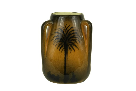 Vintage French Pottery Vase with Trees, Saint Jean du Desert, Small Glazed Ceramic with Handles