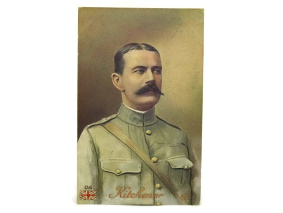 Lord Kitchener Portrait Postcard. Antique Military Collectible Art Post Card. Gifts For Him.