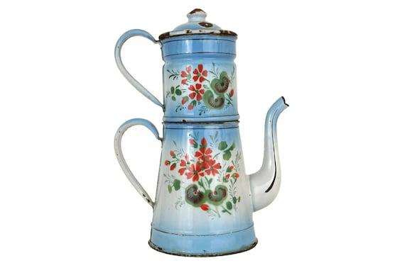 Enamel Coffee Pot with Geranium Flowers, Antique French Kitchen Decor