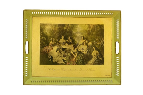 Vintage French Tole Serving Tray, Romantic Style Empress Eugenie Print