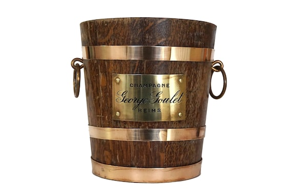 French Champagne Cooler, George Goulet Wooden Oak Barrel Ice Bucket by Geraud Lafitte