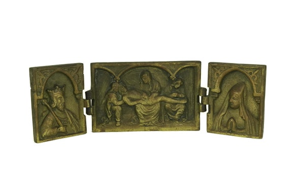 Antique Pieta Triptych. 18th Century Bronze Travelling Altar with Queen and King. French Religious Icon Art. Christian Gift and Decor.