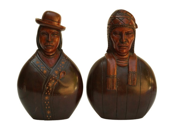 Vintage Aymara Bolivian Carved Wooden Heads Statues