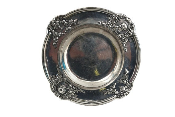 Silver Plated Coin Dish with baby Face Portrait Heads, French Laughing and Crying John Figures by Argit