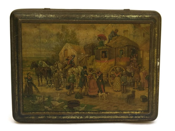 Antique French Biscuit Tin Box, Country Kitchen Storage