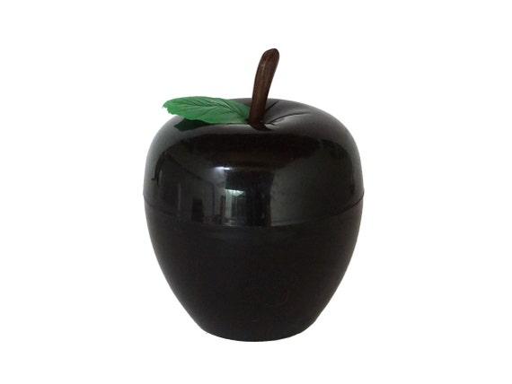 Vintage Black Apple Ice Bucket, 1970s Retro Barware, Plastic Fruit Display