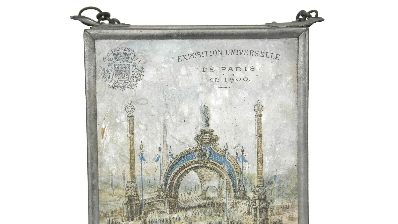 Antique Folding Mirror With 1900 Paris Exposition Prints