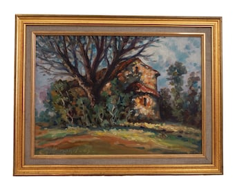 French Impressionist Country Church Painting in Provencal Landscape with Trees, Rustic Wall Art