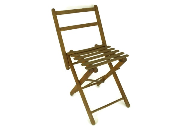 Vintage French Wood Folding Stool, Small Rustic Fishing & Camping Chair, Garden Decor and Gifts