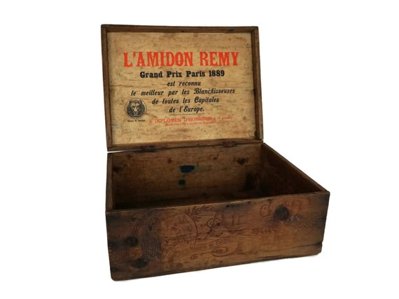Antique Wooden Packing Crate with Lid, Amidon Remy French Advertising Box