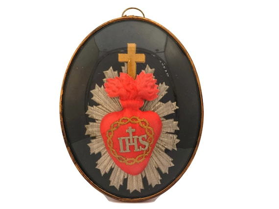 Antique French Sacred Heart in Glass Dome Frame
