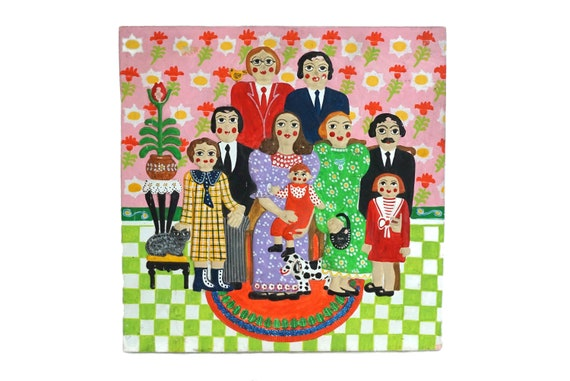 Folk Art Family Portrait, French Vintage Naive Hand Painted Wall Hanging Plaque