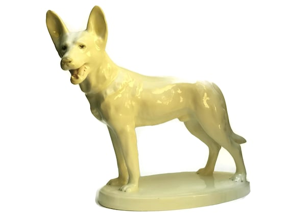 German Shepherd Dog Glazed Ceramic Statue