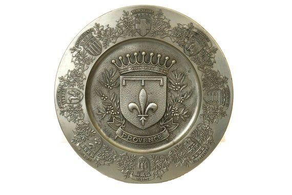 Vintage French Decorative Pewter Plate, Provence Souvenir with Crown, Coat of Arms and Fleur de Lys, Relief Wall Platter