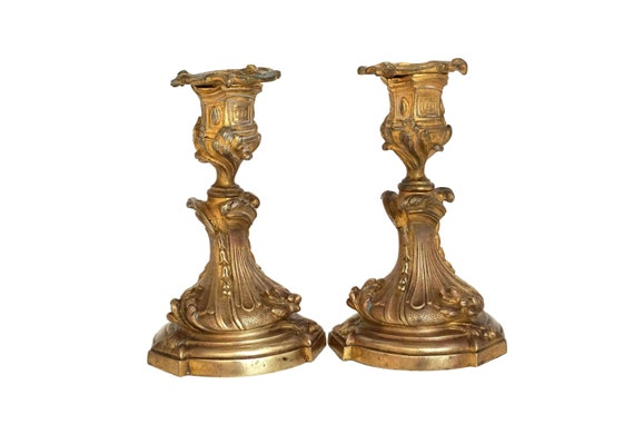 Antique French Bronze Candle Holder Pair, Louis XV Style Home Decor
