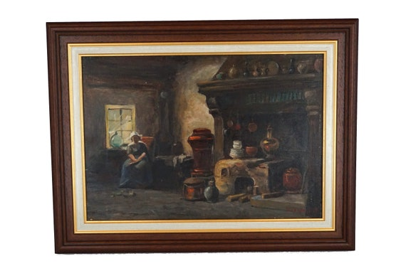 Antique French Country Kitchen Painting with Lady in Chair, Framed Wall Art