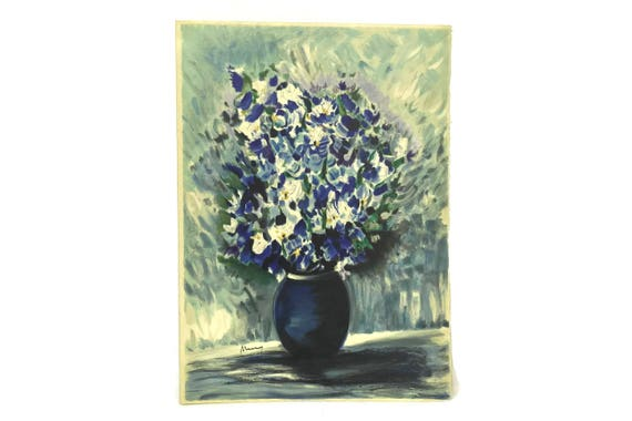 Blue Flower Still Life Lithography Art Print by Raymond Thuilier. French Vintage Menu from Baumaniere Restaurant in Les Baux de Provence.