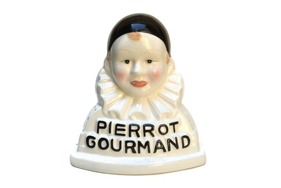 French Pierrot Gourmand Lollipop Stand, Ceramic Clown Candy Store Display