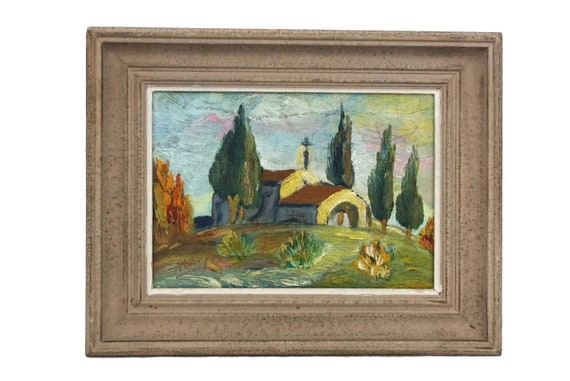 French Country Church Painting, Rustic Provence Wall Art, Country Landscape with the Chapel Saint Sixte