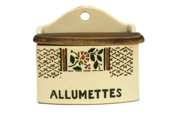 Art Deco Match Box. Vintage French Allumettes Box Holder. Glazed Ceramic Canister. Cottage Kitchen Decor.