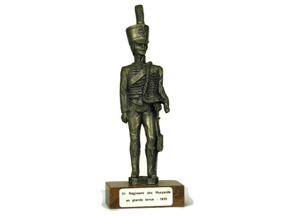 French Pewter Soldier Figurine. Vintage Etains du Prince. Collectible Military Model Figure of Hussard. Gifts For Him.