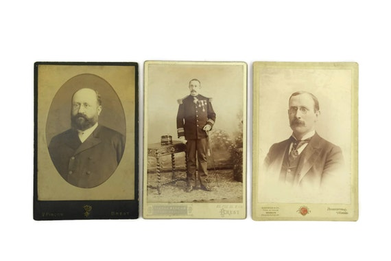 Antique Men Photo Portraits, Set of 3 French Cabinet Cards, Antique Sepia Photographs CDV, Antique Military Photograph